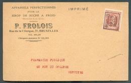 N°192 - 3c. HOUYOUX Préo BRUXELLES 1925 BRUSSEL Sur Carte Ill. (P. FROLOI Appareils Pour Le Sirop De Sucre à Froid (SUGA - Roller Precancels 1920-29