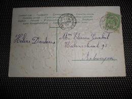 ( 28 ) Relais Sterstempel * THIELT NOTRE DAME * 1908 -   56 Op Fantasiekaart Enfant Carte Gaufrée Reliëf - Marcophilie