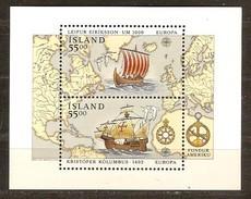 Islande Ijsland CEPT 1992 Yvertn° Bloc 13 *** MNH  Cote 13 Euro Colomb Columbus - Blocs-feuillets