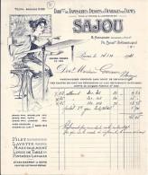 75 - PARIS - LETTRE Ou FACTURE - 1921 -  TAPISSERIES ET OUVRAGE DE DAMES / SAJOU - France