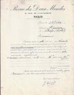 75 - PARIS - LETTRE Ou FACTURE - 1926 -  REVUE DES DEUX MONDES - France