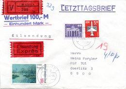 """(Gm2) DDR LETZTAGSBRIEF """"Letzter Gültigkeitstag Der DDR PWZ"""" MiF DDR/WB TSt. 2.10.90 GÖRLITZ 1 - Brieven En Documenten"""