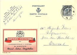 Entier Postal : Kortrijkse Verzekering - Postwaardestukken