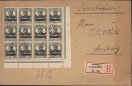 YT 136 X12 Germania 2 1/2 Gris Olive Deutsches Reich Surchargés Freistaat Bayern Recommandé Amberg 1 N°701 - Bavaria