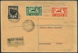 """Brief ÄGÄISCHE INSELN 1937, """"PRIMO VOLO RODI HAIFA 8 APRILE 1937 XV"""", Kastenstempel Auf Dreifarbenmischfrankatur Aus Rho - Sonstige - Europa"""