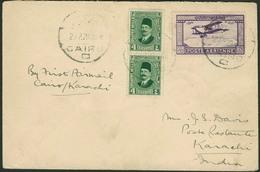 Brief ÄGYPTEN 1929, Erstflug Cairo-Karachi, Mit Mischfrankatur Freimarken Und 27 M Flugpostmarke, Rs. Ankunftsstempel Ka - Sonstige - Europa