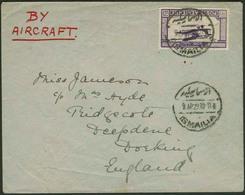 Brief ÄGYPTEN 1929, 27 M Flugpostmarke Einzelfrankatur Aus Ismailia Nach Dorking/England, Erstflug Nach England, Klappen - Sonstige - Europa