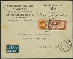 Brief ÄGYPTEN 1930, Flugpostbrief Aus Alexandria Nach Paris, Mit Mischfrankatur 27 M Flugpost-/Freimarke, Ankunftsstempe - Sonstige - Europa