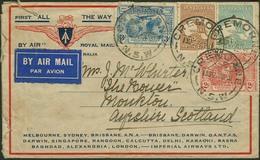 Brief AUSTRALIEN 1931, Imperial Airways Erstflug Melbourne-London, Etwas Mangelhafter Flugpostbrief Mit Mischfrankatur A - Sonstige - Europa