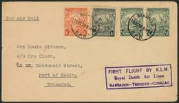 Brief BARBADOS 1938, KLM Erstflugbrief Etappe BARBADOS - TRINIDAD, Ank.-Stempel Rs. POS 19.10., übliche Leichte Alterssp - Sonstige - Europa