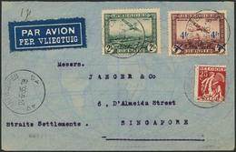 Brief BELGIEN 1935, Luftpostbrief  Antwerpen-Singapore (24.6.35), Mit Dreifarbenfrankatur, U.a. 4 Fr Aufdruckmarke Mit I - Sonstige - Europa