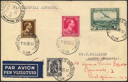 Brief BELGIEN 1936, Imperial Airways Flug Bruxelles-Lagos(Nigeria), Via Sudan Mit Ankunftsstempel, Einige Monate Später  - Sonstige - Europa