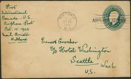 """Brief CANADA 1920, 1 C Ganzsachenumschlag Mit Schwarzem Einzeiler """"AIRPLANE SERVICE"""", Aus Victoria/B.C., Erster Postflug - Sonstige - Europa"""