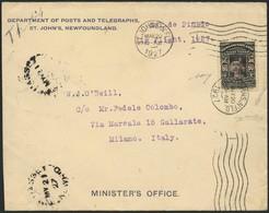 """Brief CANADA / NEUFUNDLAND, 1927, 60 C """"AIR MAIL DE PINEDO 1927"""" Auf Pracht-Ministerbrief Des Legendären Transatlantikfl - Sonstige - Europa"""