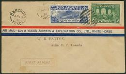 Brief CANADA 1928, Erstflug CARCROSS-ATLIN Mit Mischfrankatur 2 C Freimarke Mit 25 C YUKON-AIRWAYS-FLUGPOSTMARKE, Selten - Sonstige - Europa