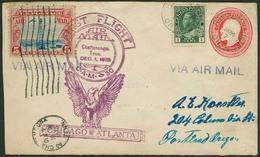 Brief CANADA 1928, 2 C Ganzsachenumschlag Mit Zusatzfrankatur, Aus Port Dalhousie, Zusätzlich 5 C USA-Flugpostmarke Des  - Sonstige - Europa