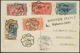 """Brief DJIBOUTI 1930, Sonderflugkarte """"2. SERVICE AVION Djibouti-Addis"""", 17.4.1930, Rs. 1 Fr Marke, Ankunftsstempel Vs. - Sonstige - Europa"""