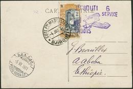 """Brief DJIBOUTI 1931, Illustrierte Flugpostkarte """"6 SERVICE DJIBOUTI ADDIS"""", Violetter Sonderstempel Auf 2 Fr Einzelfrank - Sonstige - Europa"""