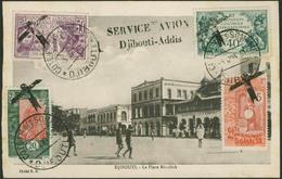 "Brief DJIBOUTI 1931, Illustrierte Flugpostkarte ""SERVICE AVION Djibouti-Addis"", 03.06.1931, Mit Ankunftsstempel - Sonstige - Europa"