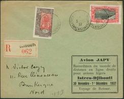 Brief DJIBOUTI  1937, R-Luftpostbrief Aus Djibouti Nach Dunkerque/Frankreich Mit Ankunftsstempel, JAPY-Flug Mit Entsprec - Sonstige - Europa