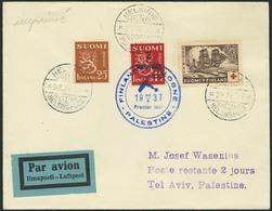 Brief FINNLAND 1937, Luftpostbrief Mit Dreifarbenfrankatur Aus Helsinki Nach TEL AVIV/Palästina, Mit Blauem Sonderstempe - Sonstige - Europa