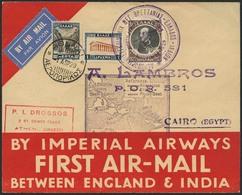 Brief GRIECHENLAND 1929, Erstflug Imperial Airways England-Indien, Zuleitung Athen-Cairo/Ägypten, Sonderstempel Vom 01.0 - Sonstige - Europa