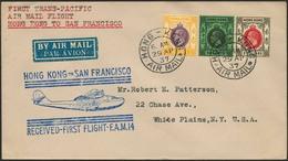 Brief HONG KONG 1937, Erstflug Hong Kong-San Francisco, Brief Ab Hong Kong 29.4.37 Mit Bunter MiF, Großer Blauer Flugste - Sonstige - Europa