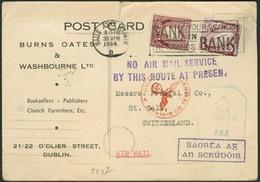 """Brief IRLAND 1944, Postkarte Aus Dublin Nach St. Gallen/Schweiz, Mit Zweizeiler """"NO AIR MAIL SERVICE BY THIS ROUTE AT PR - Sonstige - Europa"""