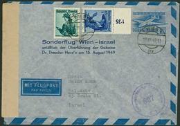 """Brief ISRAEL 1949, """"Sonderflug Wien-Israel Anlässlich Der Überführung Der Gebeine Dr. Theodor Herzl's Am 15. August 1949 - Sonstige - Europa"""