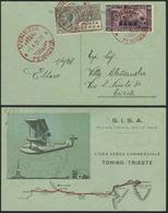 """Brief ITALIEN 1926, Erstflug Turin-Triest, Etappe Ab Venedig, Farbige Sonderkarte Der """"S.I.S.A."""" Mit Abbildung Des Flugz - Sonstige - Europa"""