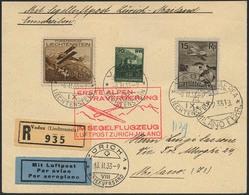 Brief LIECHTENSTEIN 1933, Zuleitung Zum Schweizer Segelflug über Die Alpen, R-Brief Ab Vaduz 6.2.33 Mit Bunter MiF, Tran - Sonstige - Europa