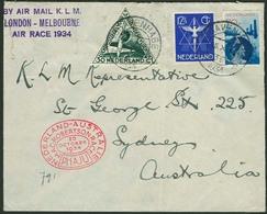 Brief NIEDERLANDE 1934, Air Race London-Melbourne, Flugpostbrief Aus S'Gravenhage Nach Sydney/Australien Mit Ankunftsste - Sonstige - Europa