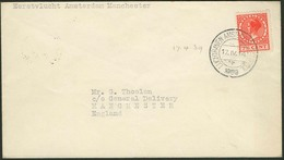 """Brief NIEDERLANDE 1939, Erstflug Amsterdam-Manchester, 7½ C  Einzelfrankatur Mit Stempel """"LUCHTHAVEN  AMSTERDAM SCHIPHOL - Sonstige - Europa"""