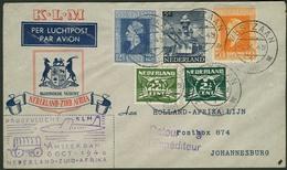 Brief NIEDERLANDE 1946, KLM-Flug Amsterdam-Johannesburg, Luftpostumschlag Mit Buntfrankatur Aus WESTZAAN Nach Johannesbu - Sonstige - Europa