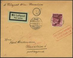 Brief ÖSTERREICH 1927, Wien-Mannheim, Brief Ab Wien 19.4.27 Mit 15 G EF Nach Mannheim Postlagernd, Via München Mit Rotem - Sonstige - Europa