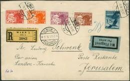 Brief ÖSTERREICH 1931, R-Luftpostbrief Linie London-Karachi, Mit Fünffarbenfrankatur, Zuleitung Aus Wien Nach Jerusalem  - Sonstige - Europa