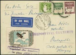 """Brief PALÄSTINA 1933, """"GERLE""""-Flug Haifa-Budapest, Karte Mit Dreifarbenfrankatur Mandatsausgabe Mit Dekorativer Vignette - Sonstige - Europa"""