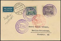 Brief POLEN 1934, Erstflug Warschau-Berlin, Karte Mit 10 Und 45 Gr Flugpost Und Violettem Flug-SST Warschau 1.5.34, Anku - Sonstige - Europa