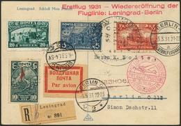 Brief RUSSLAND 1931, Erstflug Leningrad-Berlin, R-Karte Ab Leningrad 4.5.31 Mit Großem Flug-SST Und Beidseitig Bunter Mi - Sonstige - Europa