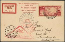 Brief RUSSLAND 1932, Polar-Forschungsreise, 50 K Sondermarke Auf Karte Mit SST 26.8.32, Flugstempel Und Ankunft Archange - Sonstige - Europa