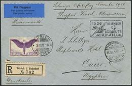 Brief SCHWEIZ, Afrikaflug 1926, Etappe Bis Alexandria, R-Brief Ab Zürich 28.11.26 Nach Cairo Mit 1 Fr Flugpost In EF, Fl - Sonstige - Europa