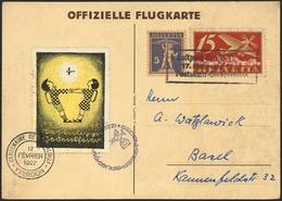 Brief SCHWEIZ 1927, Pestalozzi-Gedenkflug Brugg-Yverdon 17.2., Offizielle Flugkarte Mit Farbiger Flugvignette Und 15 Rp  - Sonstige - Europa