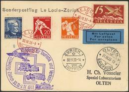 """Brief SCHWEIZ 1933, Sonderflug Le Locle-Zürich, Karte Mit Rotem Flugstempel Le Locle 30.3.33 Und SST """"Kongress Für Touri - Sonstige - Europa"""