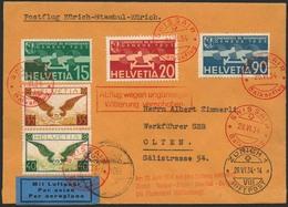 Brief SCHWEIZ 1934, Balkanflug, Etappe Zürich-Istanbul, Brief Mit Bunter MiF Und Flug-SST 26.6.34, Verzögerungs-Ra2 Und  - Sonstige - Europa