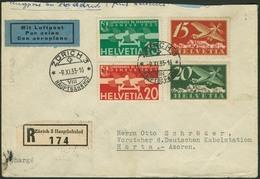 Brief SCHWEIZ 1935, R-Flugbrief Mit Buntfrankatur Aus Zürich Via Madrid Und Lisboa Nach HORTA/Azoren Mit Ankunftsstempel - Sonstige - Europa