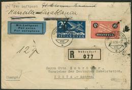 Brief SCHWEIZ 1936, R-Luftpostbrief Mit 25 Und 45 Rp Aus DÜBENDORF Via Marseille Und Lisboa Nach HORTA/Azoren, Stark Fle - Sonstige - Europa