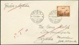 Brief SCHWEIZ 1946, 60 Rp Einzelfrankatur Auf Luftpostbrief GENÈVE Nach LYDDA/Palästina, Mit Streichvermerk, Rückseitig  - Sonstige - Europa