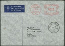 Brief SCHWEIZ 1948, Flugpostleichtbrief Aus OLTEN (21.08.1948) Mit Maschinenstempel, Nach HAIFA/Palästina Mit Zensur - Sonstige - Europa