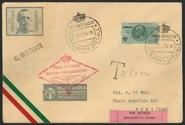 Brief SOMALIA 1934, Post-Sonderflug Rom-Mogadiscio, Brief Mit 25 L Flugpost-Sondermarke Mit Flug-SST Mogadiscio 13.11.34 - Sonstige - Europa