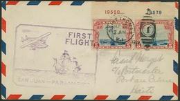 Brief USA 1929, Erstflug San Juan-Paramaribo, Mit Paar 5 C Flugpostmarke Mit Je Plattennummern In Verschiedenen Farben,  - Sonstige - Europa